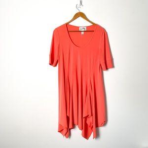 Vintage Coral 3/4 Sleeve Mini Asymmetrical Dress